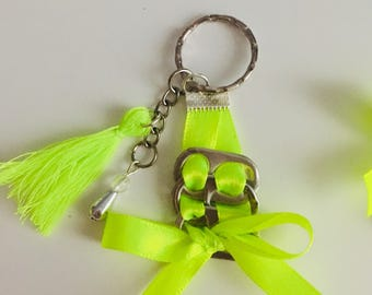 Keychain jewelry bag bobbin capsules and Ribbon with beads and tassel