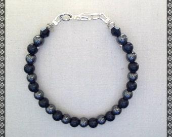 black bracelet, hematite bracelet, black and hematite, hematite, black and grey