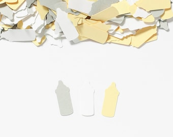 Baby Bottle Confetti, Baby Shower Decoration, Confetti, Yellow Gray, Gender Neutral