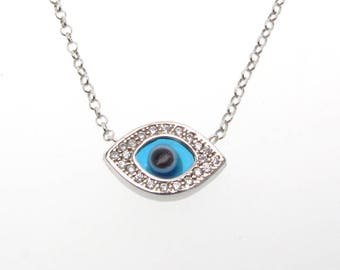 Evil Eye Necklace, Sterling Silver Pendant With Swarovski Crystals And Blue Glass Eye, Adjustable Chain