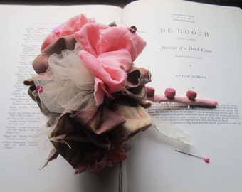Vintage Fabric Bouquet * Pom Bouquet * Vintage  * Handmade Weddings * Bridal Party Flowers * OOAK Bouquets