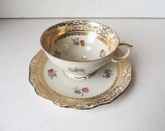 Cup and Saucer  J. Kronester Bavaria  Collectible Porcelain