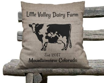 Farmhouse Chic Throw Pillow,Primitive Pillows, Dairy  Farm. Custom Personalized