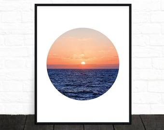Sunset Photo, Ocean Photograph, Water, Coastal, Sea, Horizon Photography, Landscape, Contemporary Wall Art, Sky Photo, Blue, Printable Art