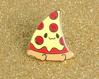 Pizza Buddy Hard Enamel Lapel Pin Cute Pepperoni Cheese Pizza Pie Slice Kawaii Carbs Junk Food Gold Plated Pin