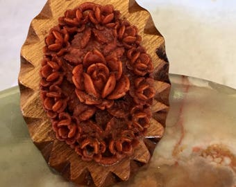 Carved Rose Design on Wood Brooch