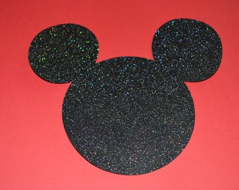"Mickey Mouse Die Cuts (20) 5"" in Black Sparkle"