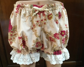 Womens Bloomers, Size Small Bloomers, Pajamas, Ladies Bloomers, Cotton Bloomers trimmed in Cream Bows and Eyelet