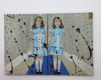 The Grady Twins ~ The Shining Inspired Horror Fan Art Pair of Acrylic Paintings
