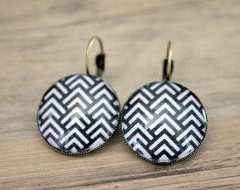 "Earrings sleepers ""graphic Chevron"" cabochon 20mm"