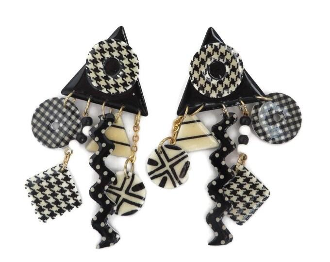 Geometric Dangles, Vintage Earrings, Black White MOD Earrings, Clip on Earrings, Checkerboard Clips, Triangle Square Circle Earrings, Gift