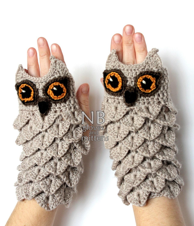 Hand Crocheted Fingerless Gloves Owl Clothing and