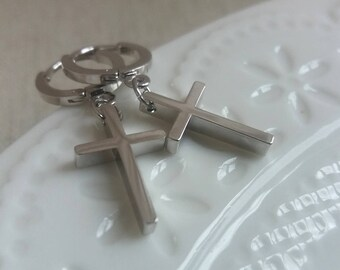 Cross Earrings, Cross Jewelry, Tiny Cross, Gold Cross Earrings, Silver Cross Earrings,Dainty Delicate Minimalist,Shop UK Gift,Christmas Gift