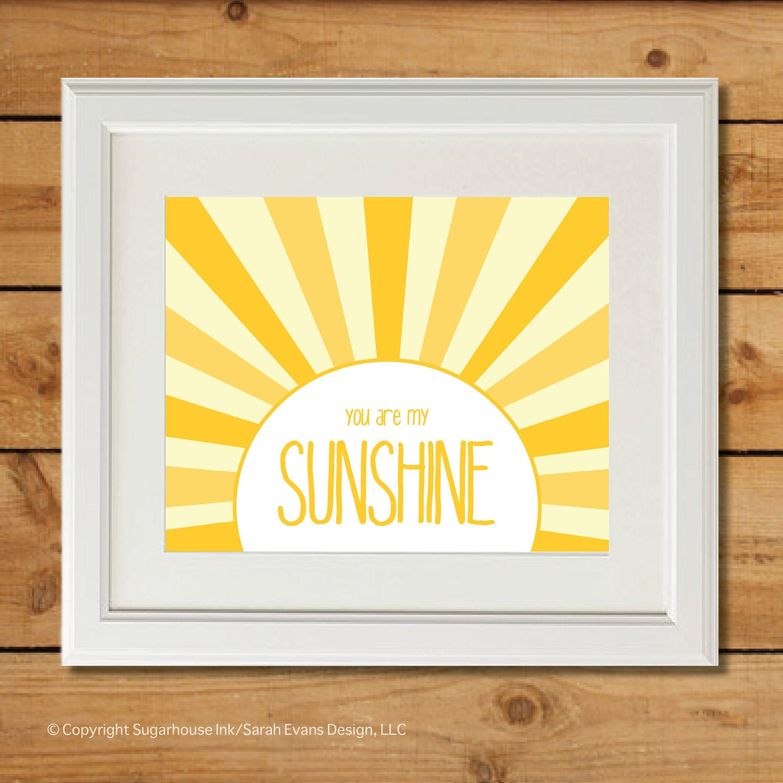You Are My Sunshine Yellow Playroom Art Wall Art