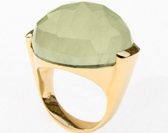 Ring with Prehnite, Size 8.5