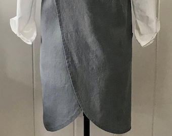Washed Linen, Curved Cross Back, Apron, Pinafore, Smock, Layering Wardrobe Piece, Steel Color, Medium/Large