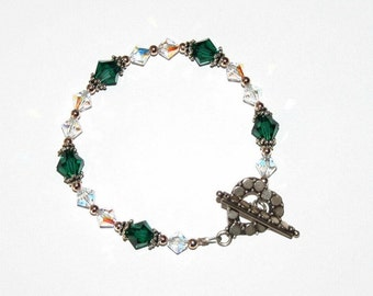 Emerald and Clear Swarovski Crystal  Bracelet with Sterling Silver findings
