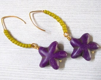 Purple and Lime Green Starfish Earrings (2596)