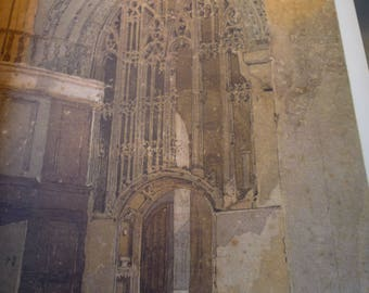 Stone Screen Norwich Cathedral by J S Cotman, English water color print 1949 -art lovers framable 11 by 14 in