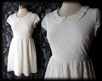 Gothic Cream Lace ENVY'S EMBRACE Peter Pan Tea Dress 8 10 Vintage Pin Up Lolita
