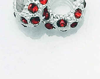 99cent Shipping~Rhinestone Crystal Spacer Beads, Cherry Red, 4 pcs +49cent ea addt'l item & DISCOUNTS*