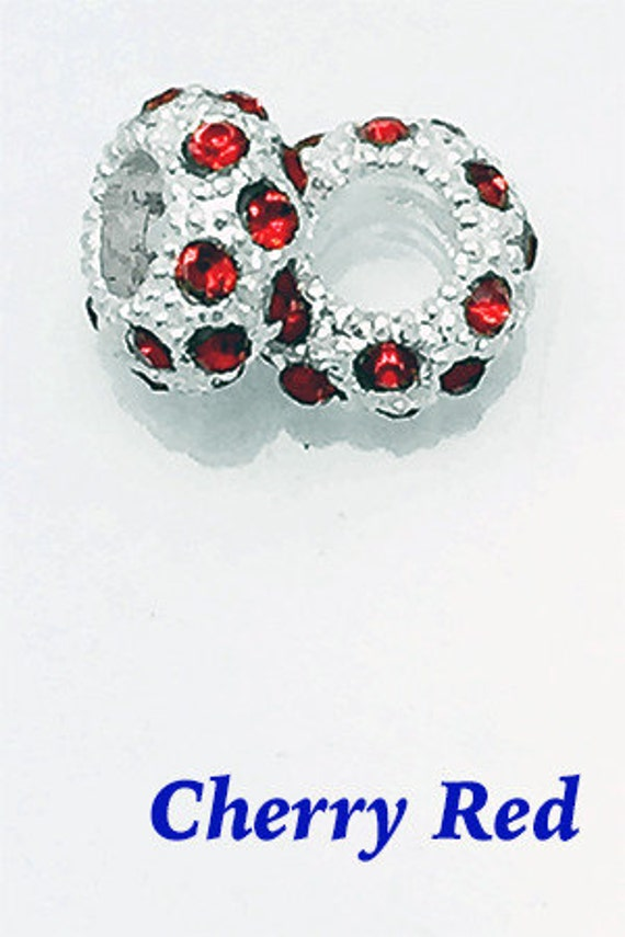 99cent Shipping~RhinestoneCrystalSpacer Beads, Cherry Red, 4 pcs +49cent ea addt'l item & DISCOUNTS*