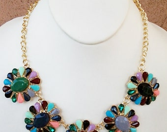 Multi Colored Flowers with Gold Chain Necklace / Multi Colored Bib Necklace.
