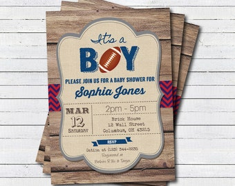 Rustic Football baby shower invitation Its a boy Blue