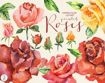 Aquarelle watercolor red roses, floral clip art, flowers, hand painted rose, wedding invite, folk, vintage invitation, card, diy stationery