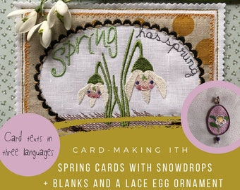 """ITH Spring Cards, 5 different card designs + a delicate Freestanding Lace Egg Ornament, all cards fit the 5 x 7"""" hoop, Instant Download"""