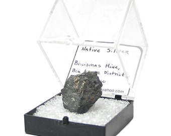 Native Silver, Natural Silver in Rock Matrix Thumbnail Mineral Specimen, Precious Metal Geo Gemstone mined in Morocco, in museum Display Box