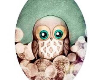 18x25mm, little OWL background Green