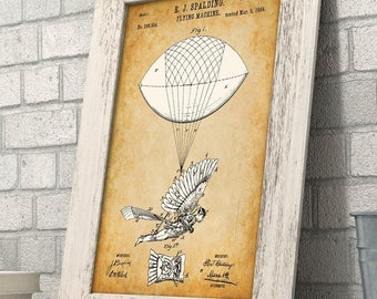 Flying Machine - 11x14 Unframed Patent Print - Great Gift for Pilots
