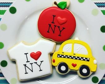 One Dozen I Heart NY Sugar Cookies