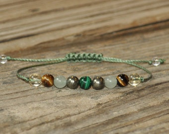 Money Maker, Malachite, Pyrite, Aventurine, Tiger Eye, Citrine, Meditation Bracelet, Yoga Bracelet, Manifestation, Abundance, Prosperity