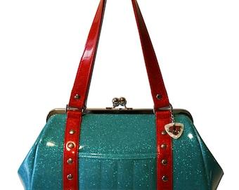 Blue Glitter Purse - Light Blue Handbag - Blue Vinyl Bag - Sky Blue Sparkle - Rockabilly Purse - MADE TO ORDER