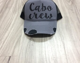 Cabo Crew Trucker Distressed Hat Mesh Vacation Beach Hat