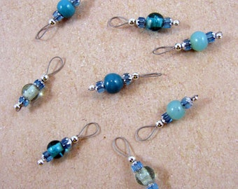 Cathedral and Aqua Blue Mix Czech Glass Bead Stitch Markers - US 5 - Item No. 1066