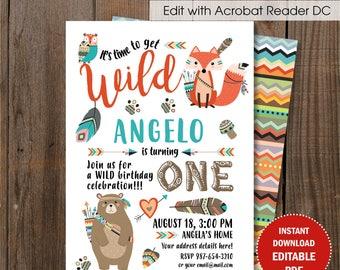 Woodland Birthday Invitation / Little Fox first birthday / Tribal Birthday DIY card / Editable PDF template.