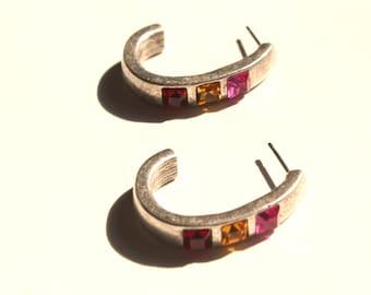 Deep Red Pink Gold Silver Hoop Earrings