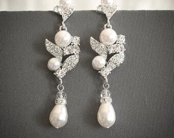 Bridal Earrings, Crystal Wedding Earrings, Swarovski Crystal Rhinestone & Pearl Cluster Chandelier Earrings, Bridal Stud Earrings, CORALIE