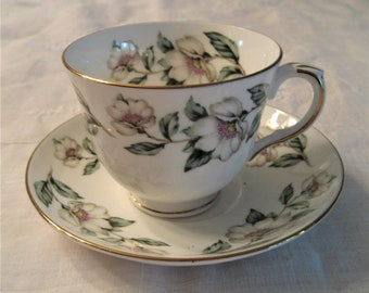 Magnolia Blossom Bone China Cup and Saucer Crown Staffordshire Fine Bone Chian Made In England Gold Trim Tea Party Table Decor
