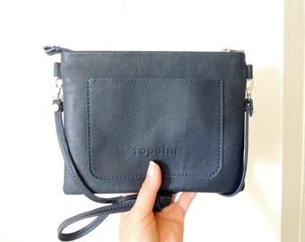 Leather clutch - dark blue