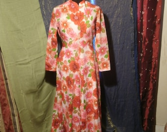 1960's Vintage Maxi Dress Bright Red Flowers Pink Green Stand Up Nehru Collar Long Sleeves Home Made Mid Century Full Length Floral Flower