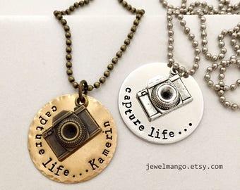 Personalized name camera necklace, Capture Life, capture moments, photographer, monogram, custom necklace, antique Bronze, traveler, camera