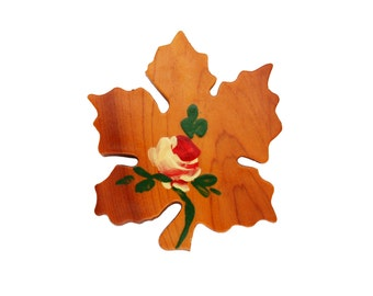 Vintage Wooden Maple Leaf Brooch with Painted Red Rose, Green Leaves and Stem