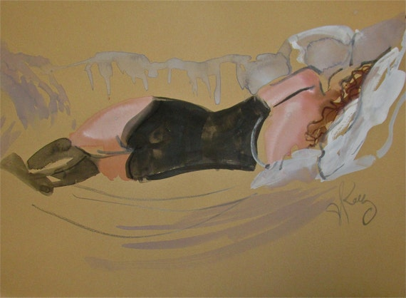 Nude Painting of Boudoir Session 2.4 original watercolor nude painting by Gretchen Kelly