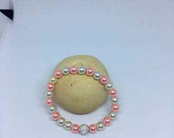 womens Pink and Pearl tone Bracelet