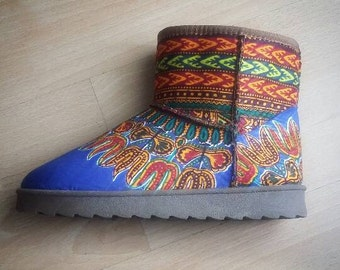 The Dashiki Wonder Boot (available in royal blue and chocolate brown print)
