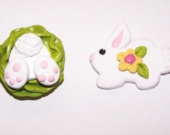 Bunny, Easter, Rabbit, White Rabbit, Magnets, Jewelry, Embellishments, Accessories, Polymer Clay, Handmade, Free Shipping, Home Decor, White